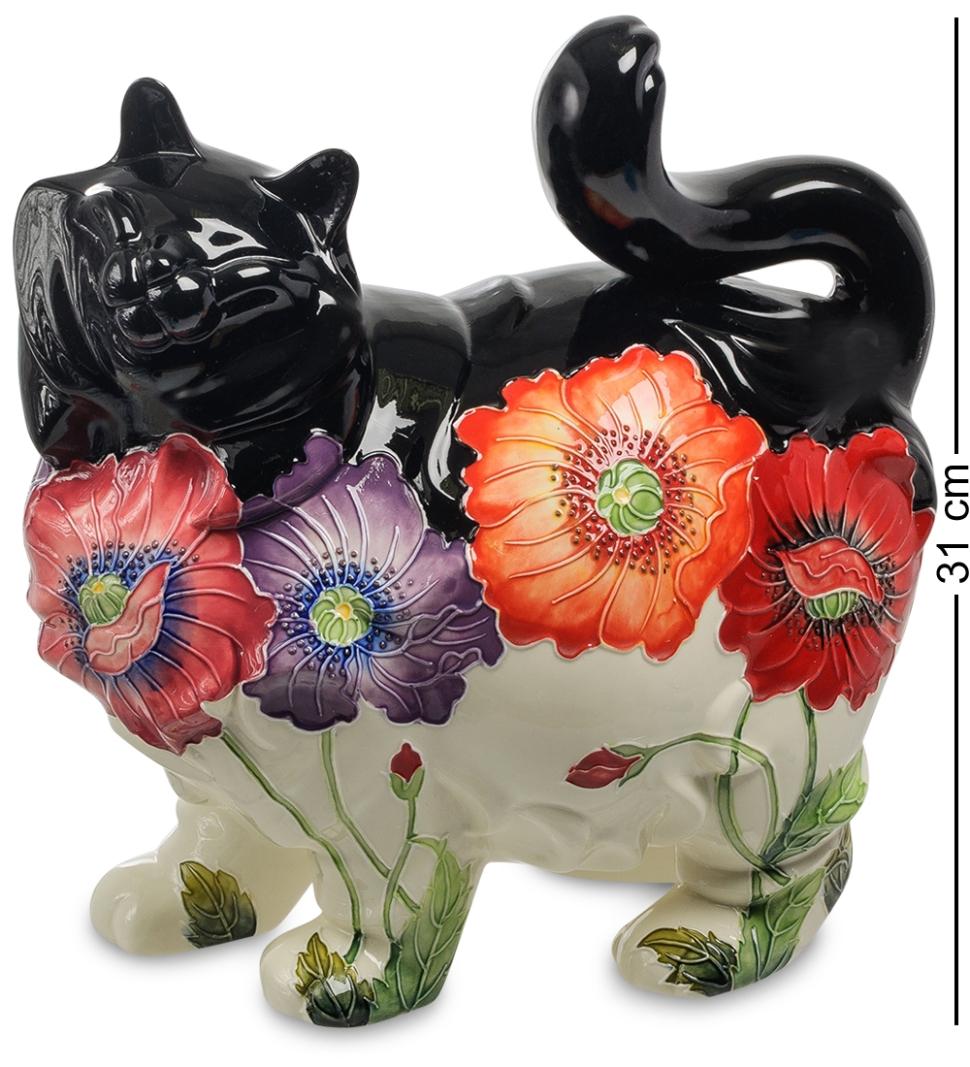 Статуэтка из фарфора Черно-Белая Кошка в цветах Pavone АЕ ...